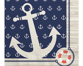 16 Count - Ahoy Nautical Luncheon Napkin - Baby Shower or Birthday Party Supplies