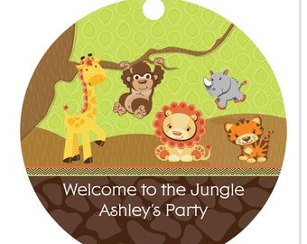 Safari Jungle Personalized Party Tags - Baby Shower or Birthday Party DIY Craft Supplies- 20 Count