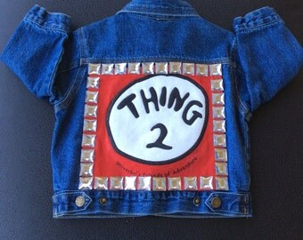 Baby girls dr. seuss thing 2 Upycle Jean Jacket  Custom  Size 18 months