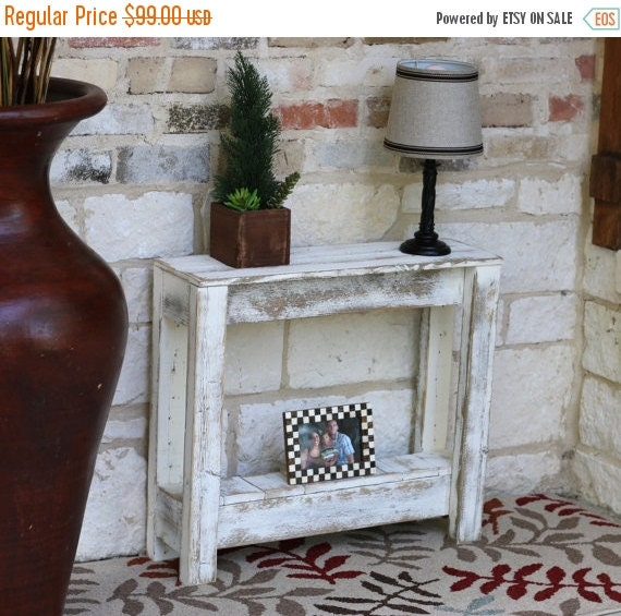 SALE White Rustic Accent End Table By DougAndCristyDesigns