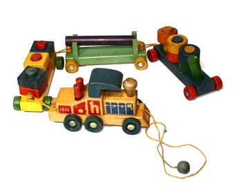 Vintage 1950s Wooden Toy Train - Holgate Tot's Activity Pull Toy Train w Wooden Blocks, Pegs and Rings