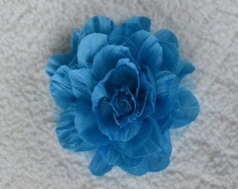 5 inch Crinkle Hair Flowers, Wholesale Flower Heads for Baby Headbands, Lot of 1, 2, 5 or 10, Turquoise