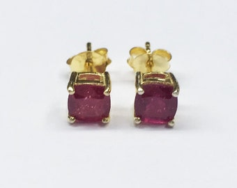 Cushion Ruby Gemstone Silver Studs 92.5 Prong Setting - FREE SHIPPING