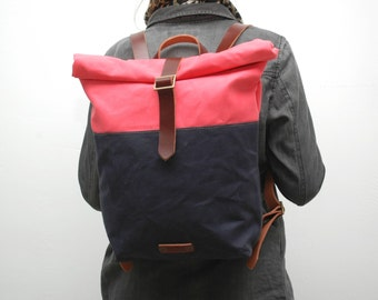 """waxed Canvas rucksack/backpack,  fuchia/navy blue color, hand waxed , with handles, leather  and closures""""limited edition"""""""