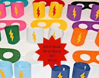 Adult Superhero Mask and Wrist Bands SET Adult Superhero Accessories. Adult Costume. Superhero Teen. Adult Wrist Cuffs. Superhero Masks