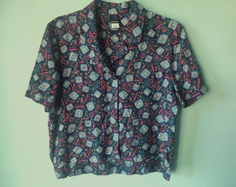 FUNKY WIGGLY  90's cropped button down M