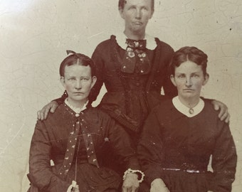Large Full Plate Tintype // Three somber Victorian women in black, Antique photo of little girls, Large 1/2 plate tintype