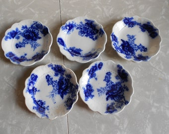 Antique Blue and White Nut Dishes (5)