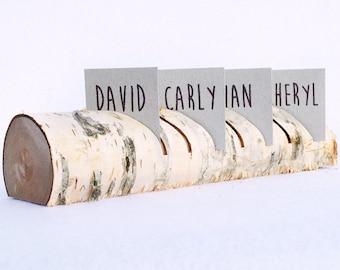 Rustic birch tree place card holder, Wedding card holder, Name card holder, Table decoration log with bark, Woodland wedding centerpiece
