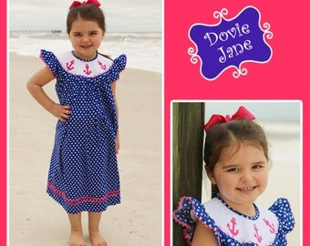 Anchor Smocked Bishop, Beach Dress, Anchor Dress, Girls Dress, Girls Smocked, Smocked Dress, Anchor Smocked,