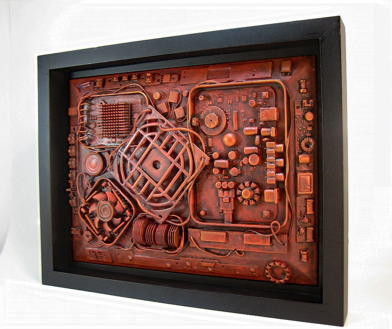 industrial wall art 11x14 unique computer steampunk sculpture. Black Bedroom Furniture Sets. Home Design Ideas