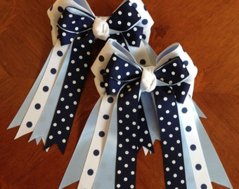 Hair Bows for Horse Shows/Equestrian clothing/Navy blue white/Ready2Mail