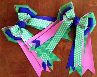 Bows for Horse Shows, Chevron/Equestrian Bows/Green Pink Blue