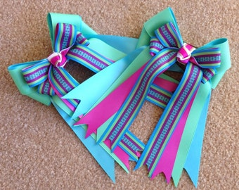 Bows for Horse Shows/Purple Green Blue/Hair Accessory