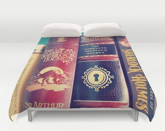 Sherlock Library Duvet Cover: Bedding, books, home decor, brown, dark colors