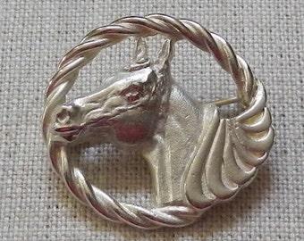 Silvertone Horse Head Brooch!