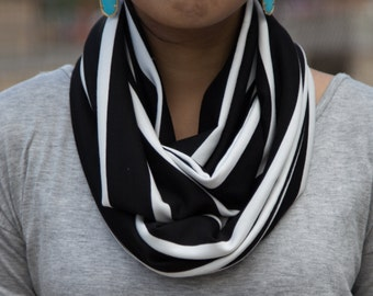 Black and White Striped Infinity Scarf (Cowl)