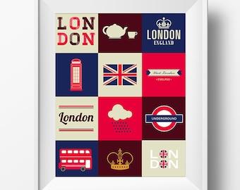 London Love Anglophile 8x10 Digital Poster Instant Download