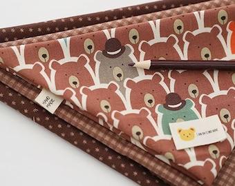 Cute Cinnamon Bear Pattern 20s Cotton Fabric