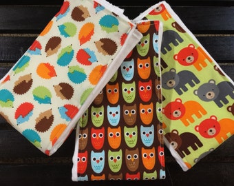 Woodland Pals Set of 3 baby burp cloths in owls, bears, and hedgehogs