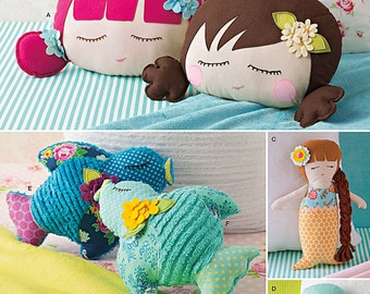 Simplicity Sewing Pattern 8067 Stuffed Doll Face Pillows, Mermaids and Birds