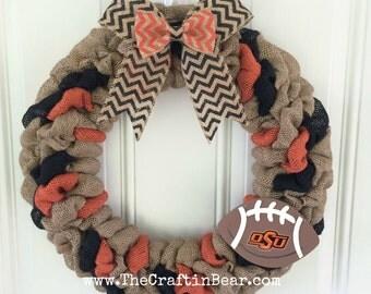 Oklahoma State University burlap wreath -  Oklahoma State University wreath -  Oklahoma State wreath - OSU wreath - OSU decor - OK state