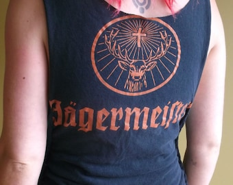 Shredded Jagermeister Tshirt/Jagermeister Top/Jagermeister Tee/Shredded Top/Shredded Tshirt/Rock and Roll Tee/Upcycled Tshirt/Kat Von D
