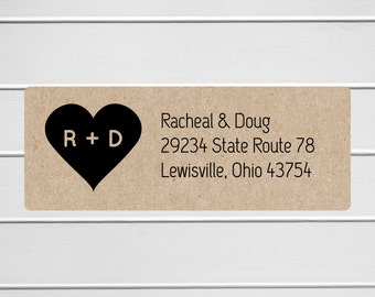 Wedding Invitation Return Address Labels, Kraft Wedding Stickers, Kraft Return address stickers for invitations (#307-K)