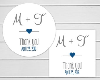 Wedding Thank you Stickers, Personalized Wedding Stickers, Thank You Labels, Envelope Seals  (#152)