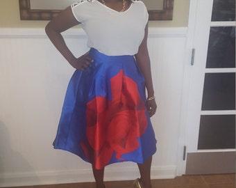Royal Blue Rose Skirt