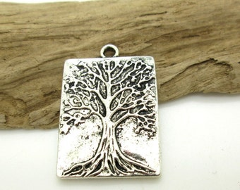 Tree of Life Pendant, Antiqued Silver Pewter Tree, Rectangle Tree Pendant, 32x22mm (1)