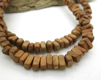 """Bayong Wood Rectangle Beads, Center Drilled, 7x3mm (8"""")"""