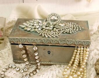 Vintage verdigris metal chest trunk jewelry box