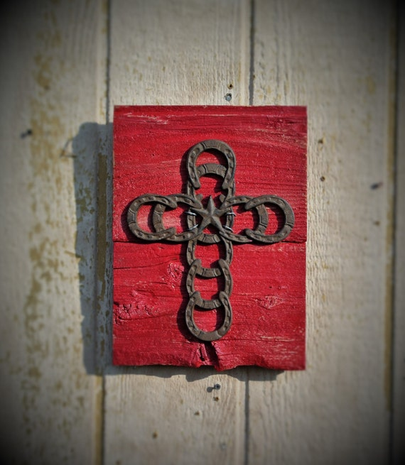 Western Home Decor Rustic Red Cross Cast Iron By