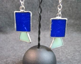 Blue and Green Glass Dangle Earrings