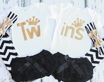 Twin girl gold glitter Cake Smash Outfit Matching Twin Girls Outfit Gift for  Twin girls one year outfit Newborn Twin Girls,  Twins  onesies