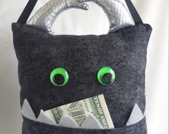 Tooth Fairy Monster Pillows- black/green/gray