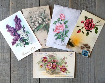 Set of 5 Vintage Flowers postcards.