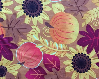 Harvest Sunflower & Pumpkins Cotton Fabric Sold by the Yard