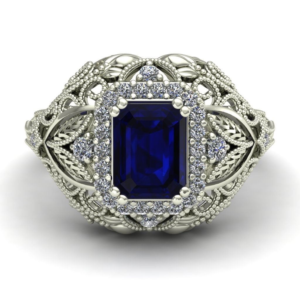 blue sapphire ring emerald cut by charlesbabbdesigns