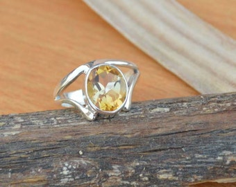 Citrine Ring, Silver Ring, November Birthstone Ring, Birthday Ring, Luck Energy Ring, Healing Ring, 925 Sterling Silver Bezel Ring Size 8