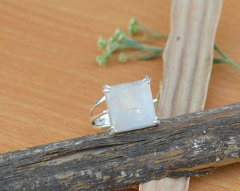 Square Rainbow Moonstone Gemstone Ring, Moonstone Ring, Solid 925 Sterling Silver Ring, June Birthstone Ring, Classic Gift Ring Size 8
