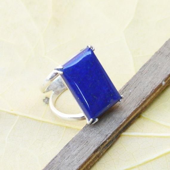 Natural Lapis Lazuli Ring, Cushion Cabochon Blue Ring, Designer Bezel set in 925 Sterling Silver Ring, Semi Precious Stone Ring Size 9