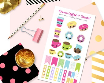 Coffee and Donut Stickers, Planner Stickers, Kawaii Stickers, Erin Condren, Kawaii Planner Stickers, Agenda, Planners , Kawaii, Stickers