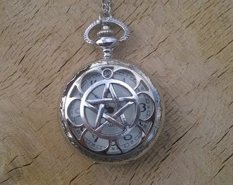 Pentagram Pocket Watch Necklace Pagan Wicca Druid Celtic