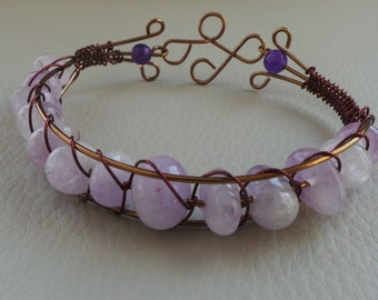 Lilac Amethyst Antique Bronze Wire Bracelet