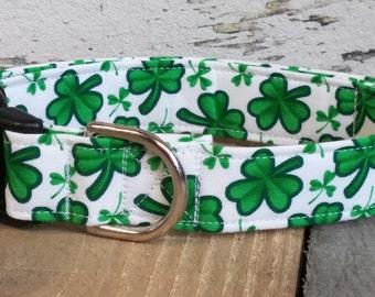 St. Patrick's Day dog collar, shamrock dog collar, clover dog collar, shamrock martingale collar, St Patricks Day Martingale collar, leash