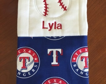 Baseball burp cloth rangers burp cloth texas rangers burp cloth girls baseball burp cloth girls burp cloth embroidered burp cloth