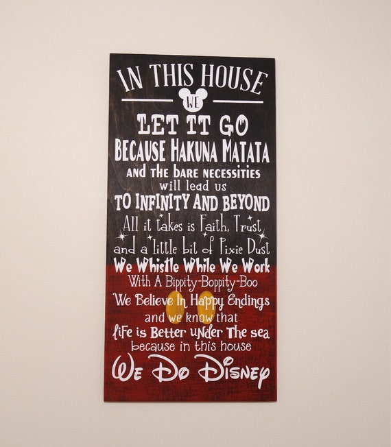 In This House We Do Disney Wooden Sign By Craftywitchesdecor