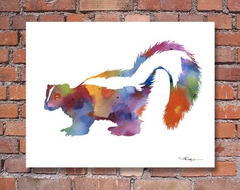 Skunk Art Print - Abstract Watercolor Painting - Wall Decor